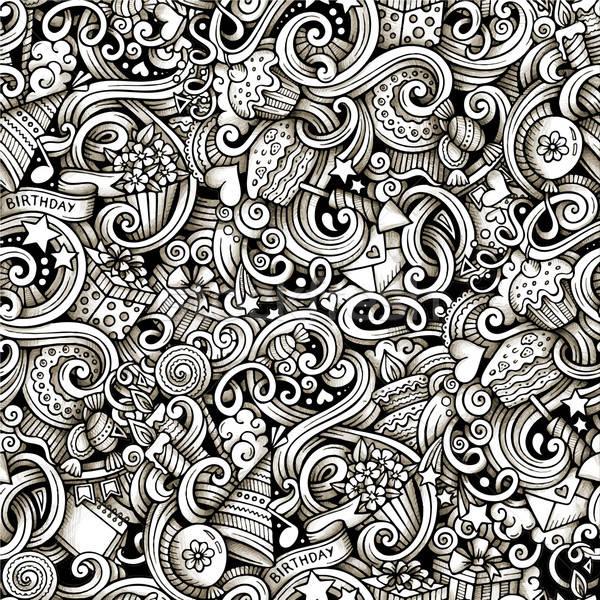 Cartoon hand-drawn doodles holidays, birthday seamless pattern.  Stock photo © balabolka