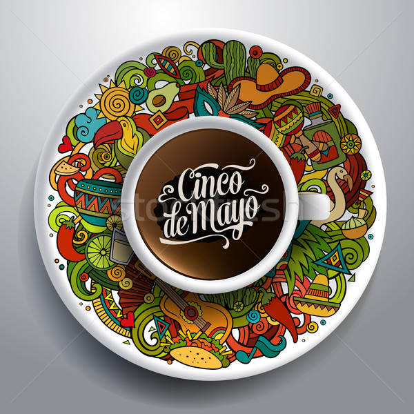 Vector latinamerican illustration with a Cup of coffee Stock photo © balabolka