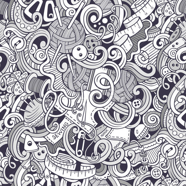 Cartoon handmade and sewing doodles seamless pattern Stock photo © balabolka