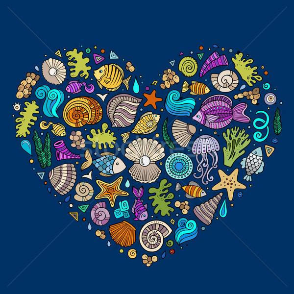 Colorful set of marine life objects Stock photo © balabolka