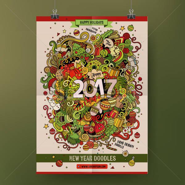 Cartoon bazgroły rok plakat kolorowy Zdjęcia stock © balabolka