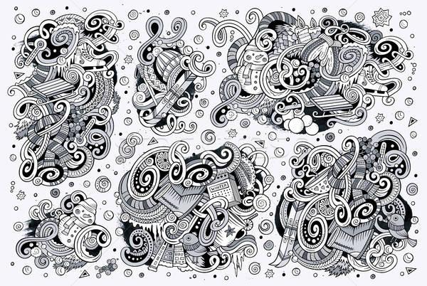 Karikatür ayarlamak kış sezonu karalamalar tasarımlar hat Stok fotoğraf © balabolka