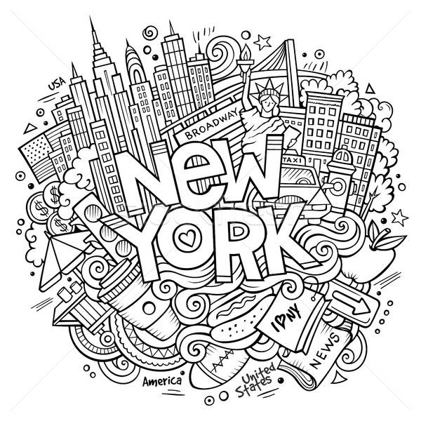 Cartoon cute doodles hand drawn New York inscription Stock photo © balabolka