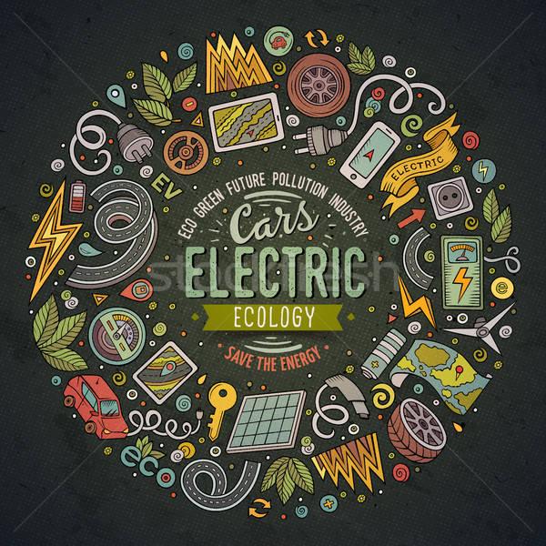 Vector hand drawn set of Electric cars cartoon doodle objects Stock photo © balabolka
