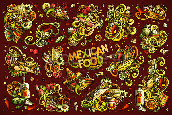 Wektora zestaw meksykańskie jedzenie obiektów elementy kolorowy Zdjęcia stock © balabolka