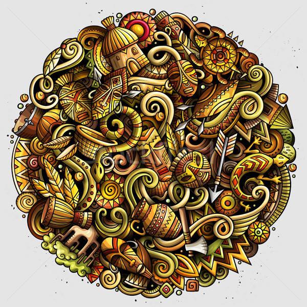 Cartoon wektora bazgroły Afryki ilustracja kolorowy Zdjęcia stock © balabolka