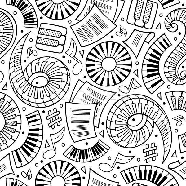 Stock photo: Cartoon hand-drawn Classic music seamless pattern