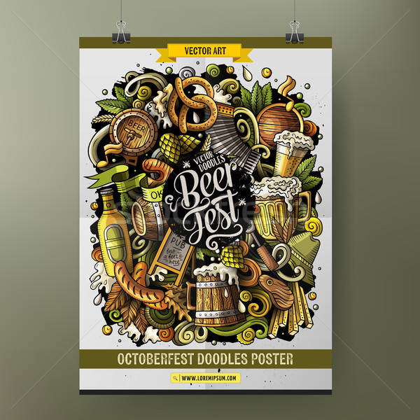 Cartoon hand drawn doodles Beer fest poster design Stock photo © balabolka