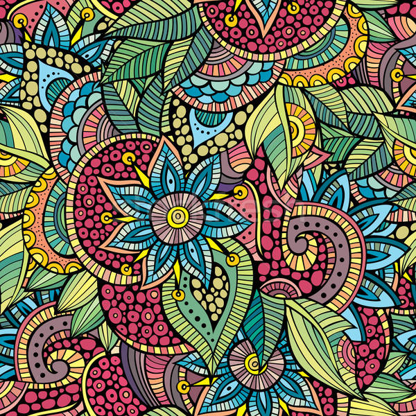 Doodles decorative floral ornamental seamless pattern Stock photo © balabolka