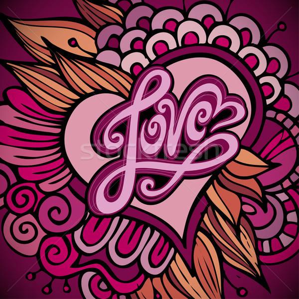Amor mão feito à mão caligrafia vetor coração Foto stock © balabolka