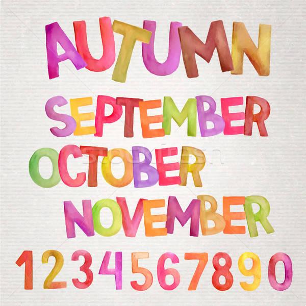 Autumn season vector hand drawn colorfull watercolor names Stock photo © balabolka
