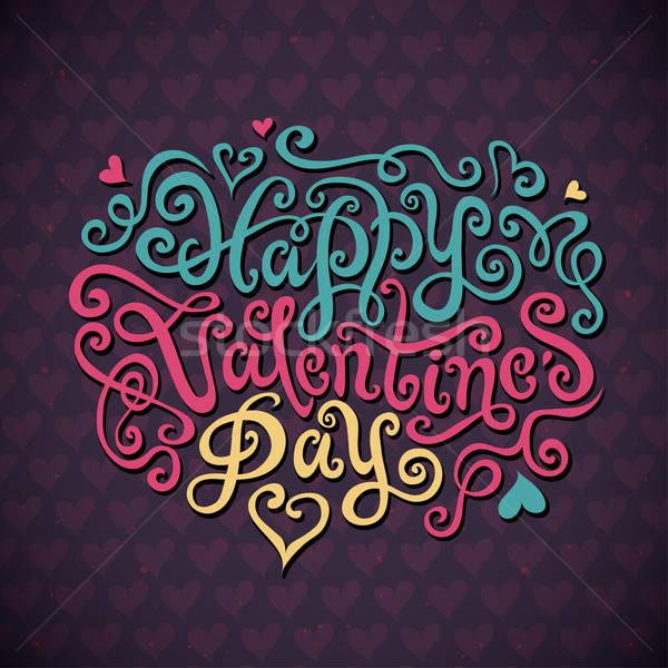 Gelukkig valentijnsdag hand handgemaakt schoonschrift vector Stockfoto © balabolka