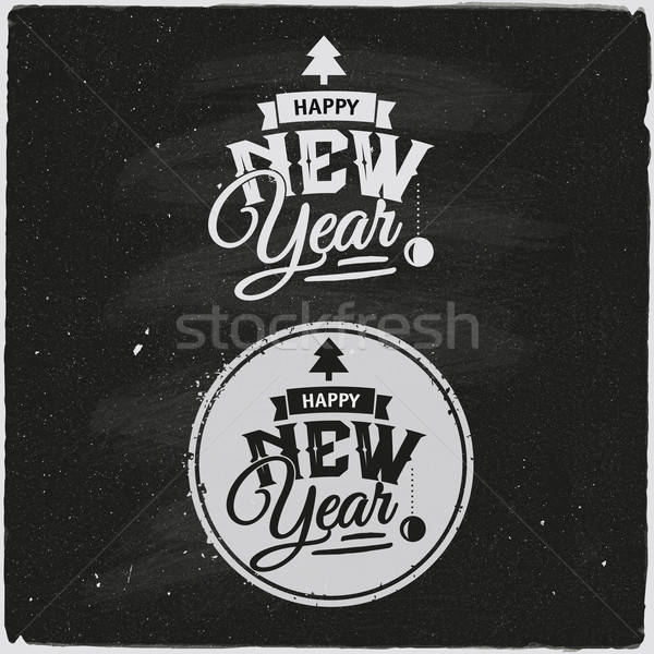 Happy New Year Set Of Typographic Design Stock photo © balabolka