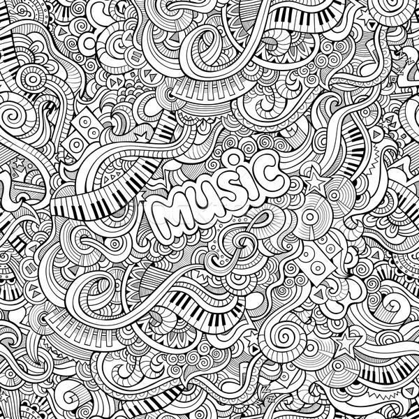 Stock photo: Cartoon vector Doodles music seamless pattern