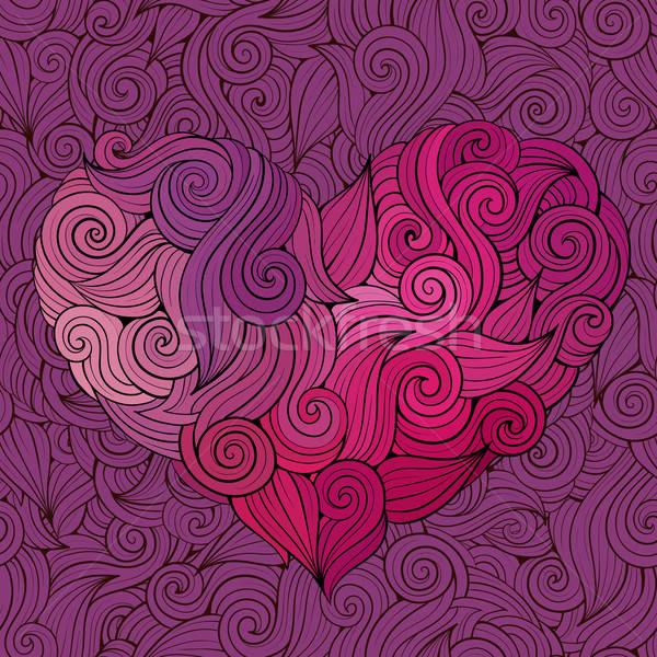 Kıvırcık grafik vektör kalp dekoratif Stok fotoğraf © balabolka