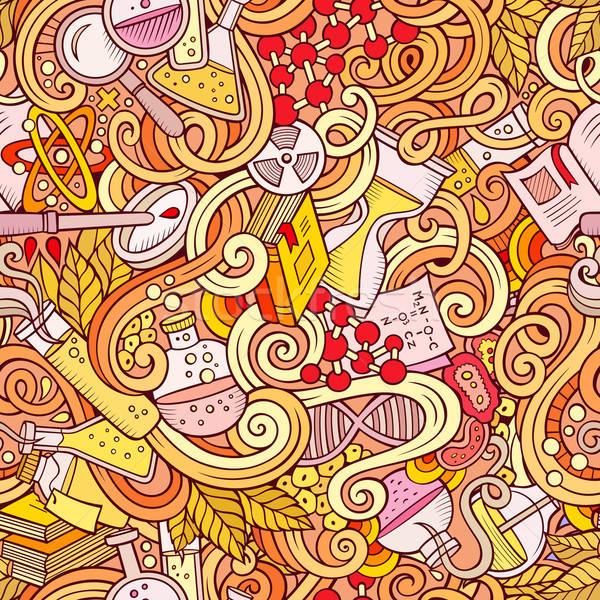 Cartoon hand-drawn science doodles seamless pattern Stock photo © balabolka