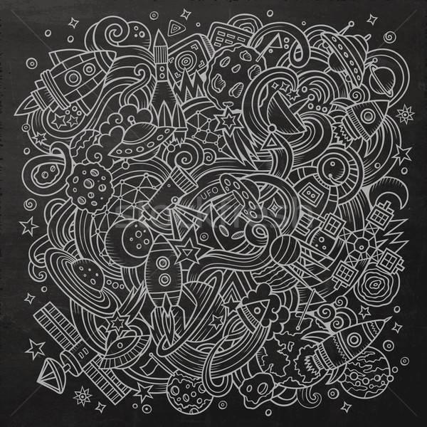 Stok fotoğraf: Karikatür · karalamalar · uzay · örnek · kara · tahta · ayrıntılı