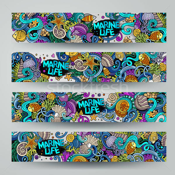 Cartoon vector underwater life, marine doodle banners Stock photo © balabolka