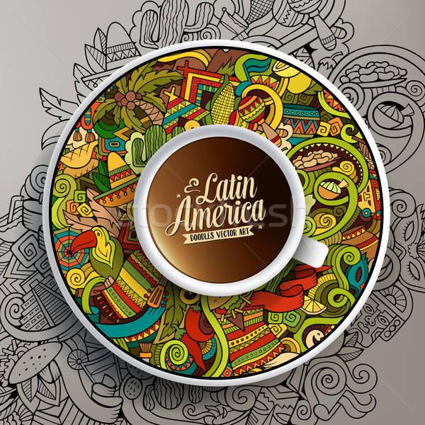 Cup of coffee and hand drawn Latin American theme Stock photo © balabolka