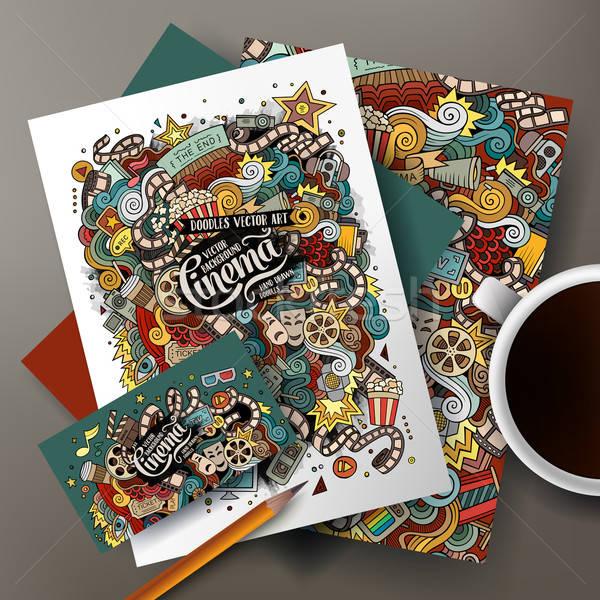 Cartoon vector doodles cinema corporate identity set Stock photo © balabolka