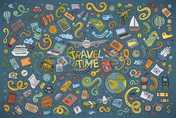 Stock photo: Vector doodle cartoon set of travel theme items