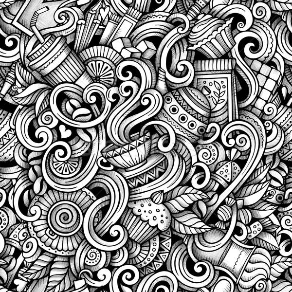 Cartoon hand-drawn doodles tea and coffee seamless pattern Stock photo © balabolka