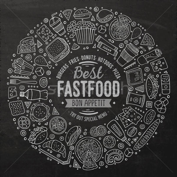 Set fast food cartoon doodle oggetti simboli Foto d'archivio © balabolka