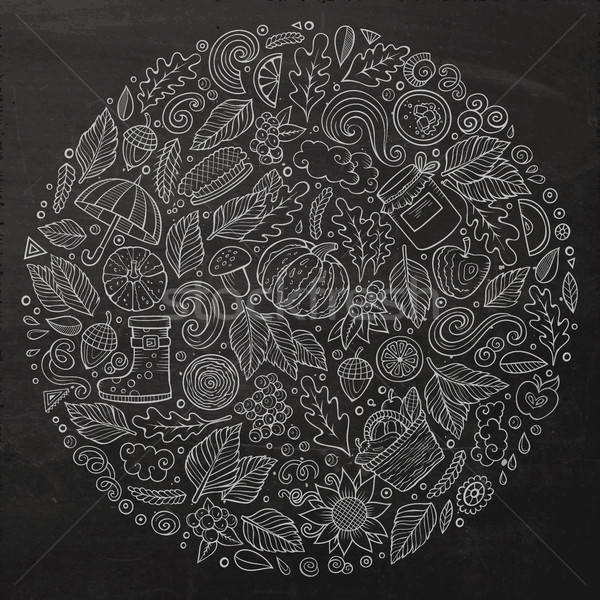 Stock fotó: ősz · rajz · firka · tárgyak · szimbólumok · tábla