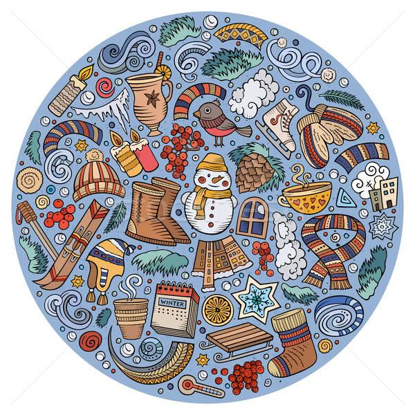 セット 冬 漫画 いたずら書き オブジェクト シンボル ストックフォト © balabolka