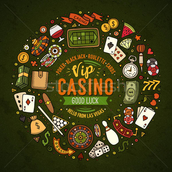 Set of Casino cartoon doodle objects, symbols and items Stock photo © balabolka