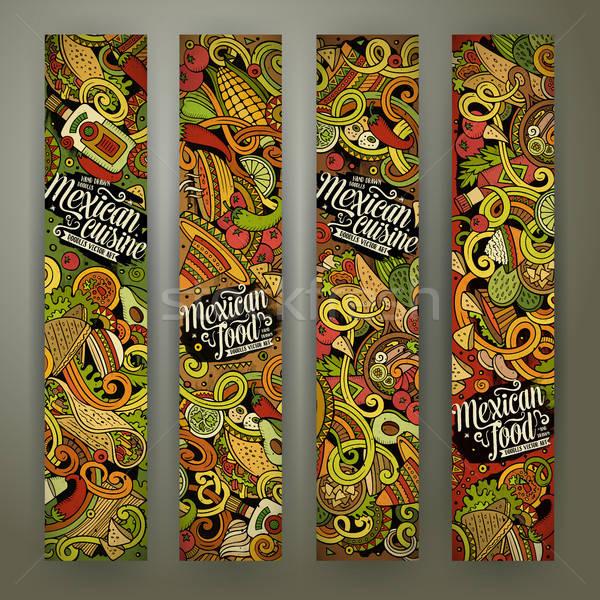 Cartoon mexicaans eten banners kleurrijk vector Stockfoto © balabolka