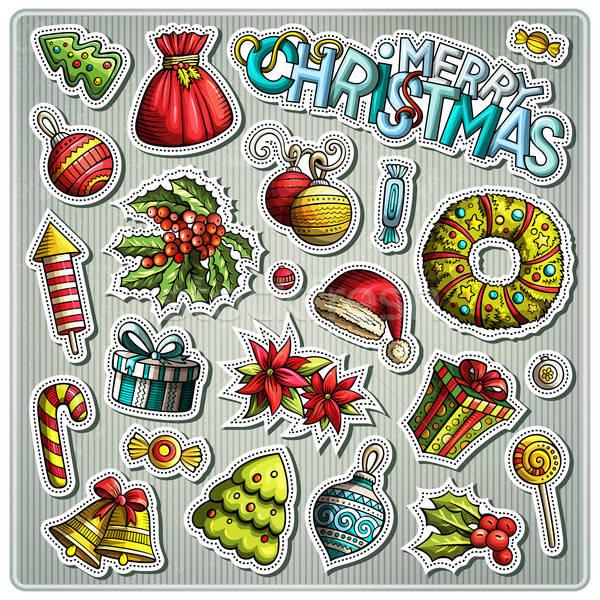 Conjunto ano novo temporada desenho animado adesivos vetor Foto stock © balabolka