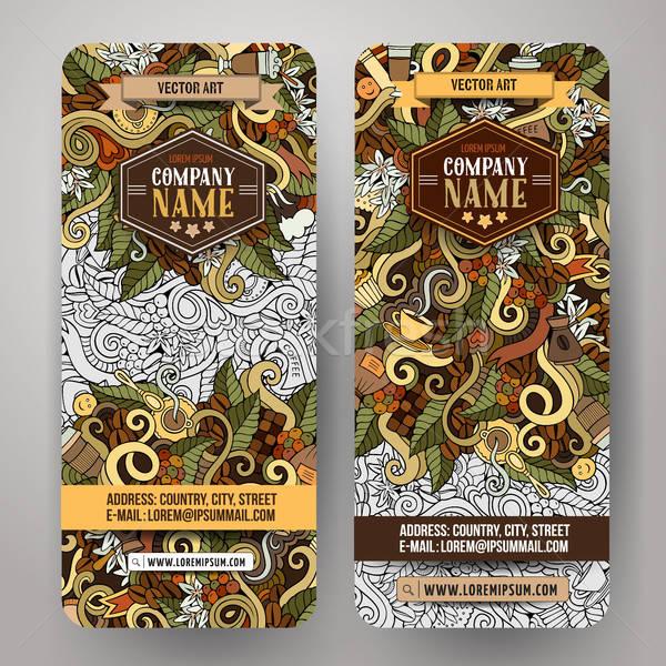 Foto stock: Vetor · bandeira · templates · café · desenho · animado