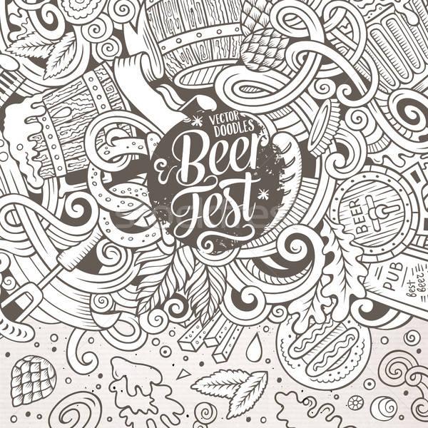 Cartoon cute doodles hand drawn Beer frame design Stock photo © balabolka