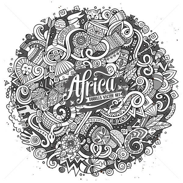 Karikatur cute Kritzeleien Afrika Illustration Hand gezeichnet Stock foto © balabolka
