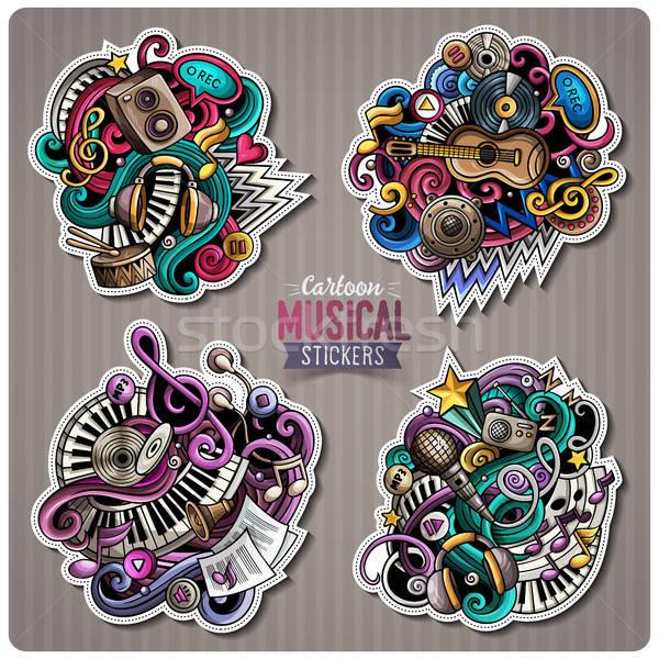 Set of vector Music cartoon stickers Stock photo © balabolka