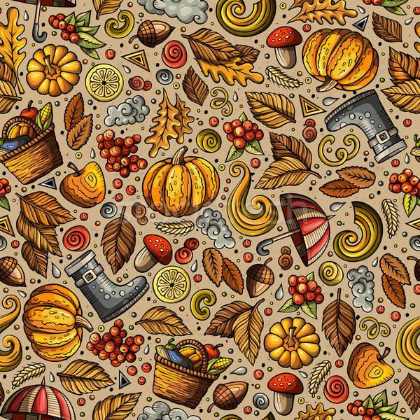 ストックフォト: 漫画 · かわいい · 手描き · 秋 · カラフル