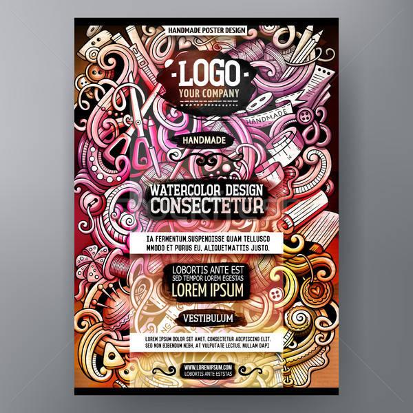 Cartoon watercolor hand drawn doodles Handmade poster design template Stock photo © balabolka