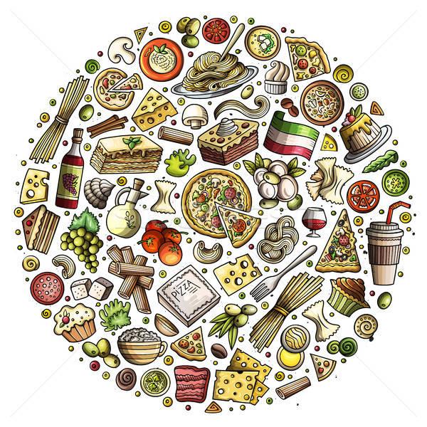 Foto d'archivio: Set · cucina · italiana · cartoon · doodle · oggetti · simboli