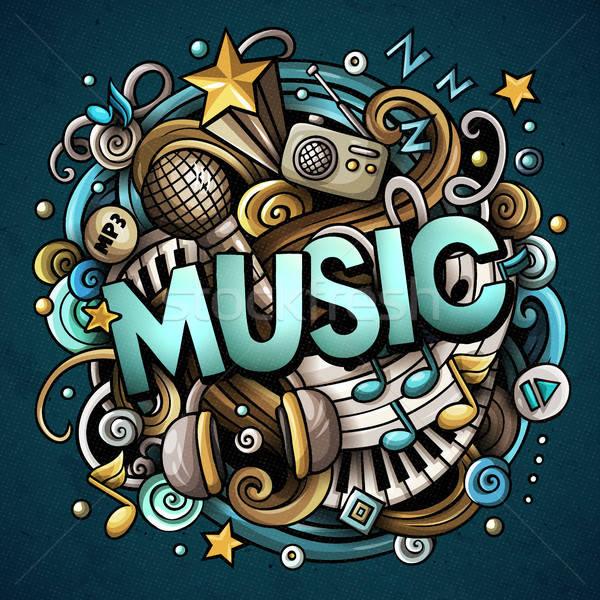 Cartoon cute doodles Music word. Colorful illustration Stock photo © balabolka