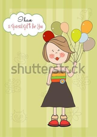 greeting card with boy and big gift box Stock photo © balasoiu