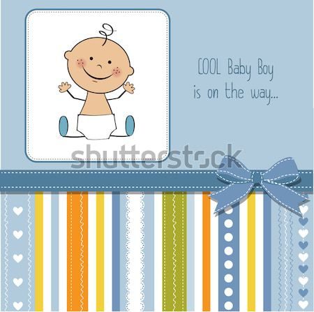 welcome baby card with girl and and her duck Stock photo © balasoiu