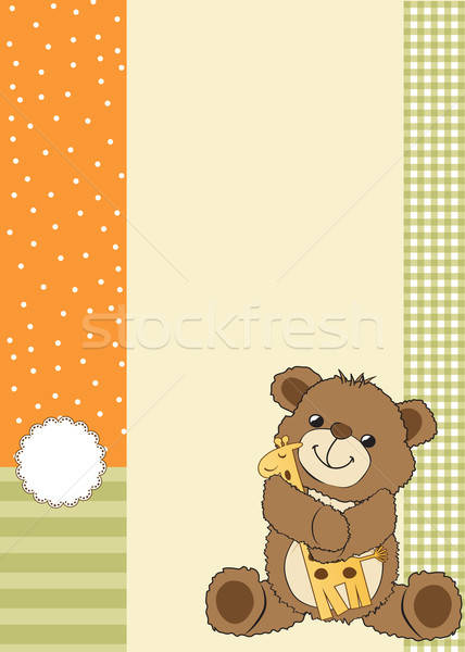 çocukça tebrik kartı oyuncak ayı oyuncak parti mutlu Stok fotoğraf © balasoiu