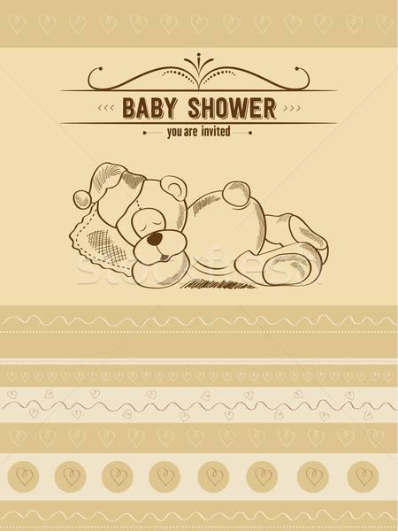Stok fotoğraf: Bebek · duş · kart · Retro · oyuncak · kız