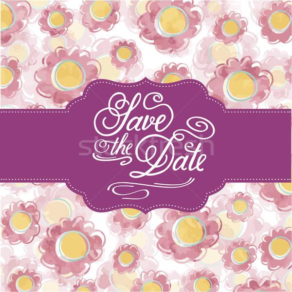 Acuarela floral tarjeta mensaje guardar fecha Foto stock © balasoiu