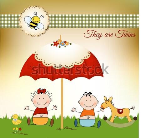 Bebê chuveiro anúncio cartão amor feliz Foto stock © balasoiu