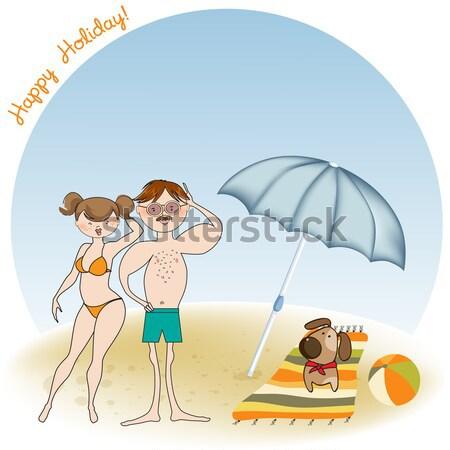 baby boy shower card with funny baby under his umbrella Stock photo © balasoiu