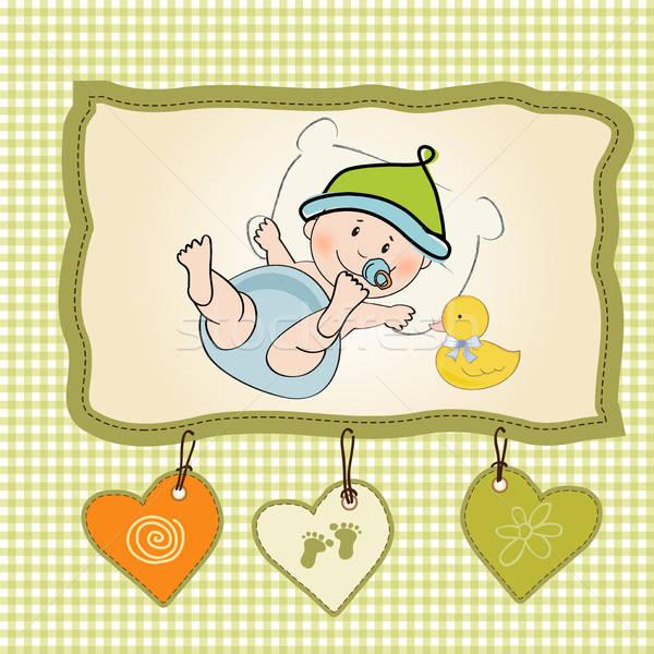 Baby jongen douche kaart illustratie vector Stockfoto © balasoiu