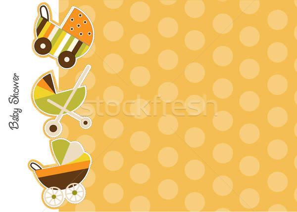 Bebek duş duyuru kart kız sevmek Stok fotoğraf © balasoiu