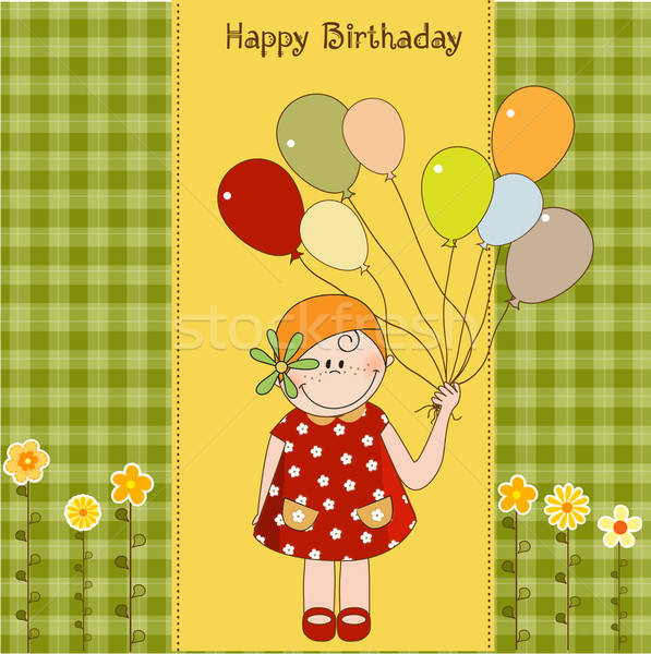 Stock photo: birthday greeting card with girl
